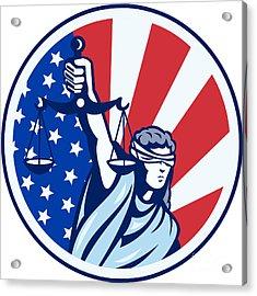 American Lady Holding Scales Of Justice Flag Retro Acrylic Print by Aloysius Patrimonio