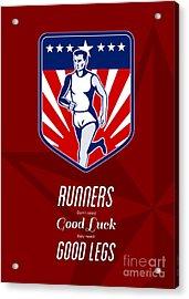American Marathon Runner Good Legs Poster Acrylic Print by Aloysius Patrimonio