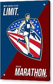 American Marathon Runner Push Limits Retro Poster Acrylic Print by Aloysius Patrimonio