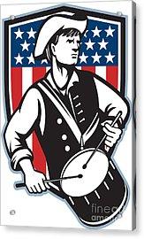 American Patriot Drummer With Flag Acrylic Print by Aloysius Patrimonio