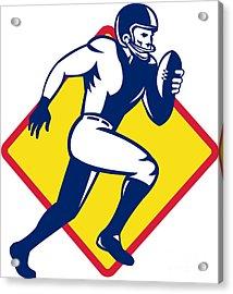 American Quarterback Football Player Running Acrylic Print by Aloysius Patrimonio