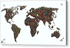 American Sign Language ... I Love You World Map  Acrylic Print by Eloise Schneider