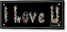 American Sign Language I Love U   Acrylic Print by Eloise Schneider