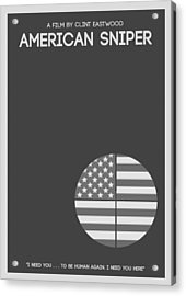 American Sniper Minimalist Movie Poster Acrylic Print by Celestial Images