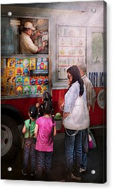 Americana - Vendor - Serving Chocolate Ice Cream Acrylic Print by Mike Savad