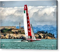 America's Cup And Alcatraz Ll Acrylic Print by Michelle Calkins