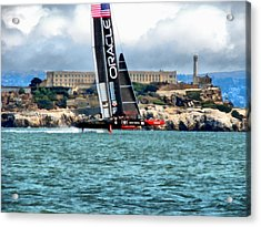 America's Cup And Alcatraz Acrylic Print by Michelle Calkins