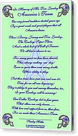 America's Team Poetry Art Poster Acrylic Print by Stanley Mathis