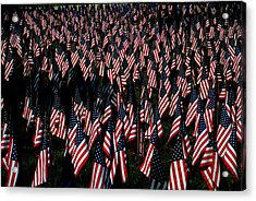 Acrylic Print featuring the photograph Field Of Flags - Sturbridge Mass. by Jacqueline M Lewis
