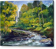 Amicalola Falls Painting Acrylic Print by Sally Simon
