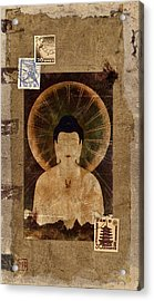 Amida Buddha Postcard Collage Acrylic Print by Carol Leigh