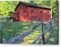 Amish Barn Along A Fenceline Acrylic Print