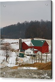 Amish Barn In Winter Acrylic Print by Dan Sproul