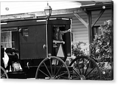 Amish Boy Waving In Horse And Buggy Acrylic Print