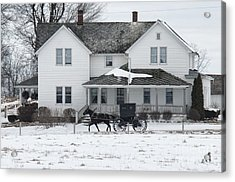 Amish Buggy And Amish House Acrylic Print