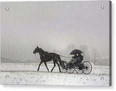 Amish Buggy Ride In The Snow Acrylic Print