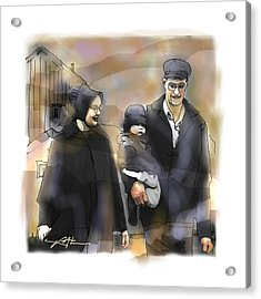 Acrylic Print featuring the drawing Amish Family by Bob Salo