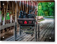 Amish Family On Covered Bridge Acrylic Print by Gene Sherrill