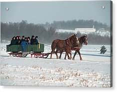Amish Family Riding In Horse Drawn Acrylic Print