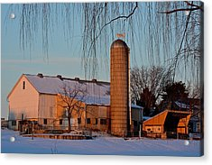 Amish Farm At Turquoise Dusk Acrylic Print