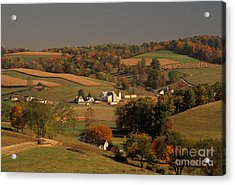 Amish Farm In An Ohio Valley In The Fall Acrylic Print by Ron Sanford