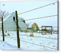 Amish Farm In Winter Acrylic Print by Julie Dant
