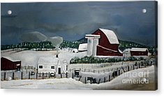 Acrylic Print featuring the painting Amish Farm - Winter - Michigan by Jan Dappen