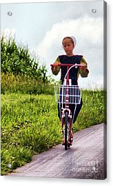 Acrylic Print featuring the photograph Amish Girl Scooting In Lancaster Pennsylvania Usa by Polly Peacock