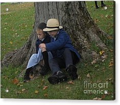 Amish Kids Acrylic Print by R A W M