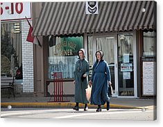 Amish Ladies Go Shopping Acrylic Print by R A W M
