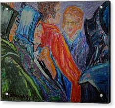 Acrylic Print featuring the painting Amish Women - Old And New by Francine Frank