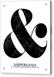 Ampersand White Acrylic Print by Amy Cummings
