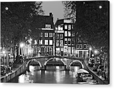 Acrylic Print featuring the photograph Amsterdam Bridge At Night / Amsterdam by Barry O Carroll