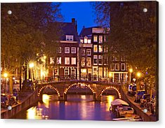 Acrylic Print featuring the photograph Amsterdam Bridge At Night by Barry O Carroll