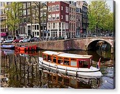 Amsterdam Canal And Houses Acrylic Print by Artur Bogacki