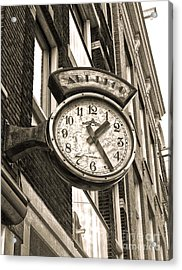 Amsterdam Vintage Deco Clock Sign In Sepia Acrylic Print by Gregory Dyer