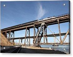 Amtrak Train Riding Atop The Benicia-martinez Train Bridge In California - 5d18775 Acrylic Print by Wingsdomain Art and Photography