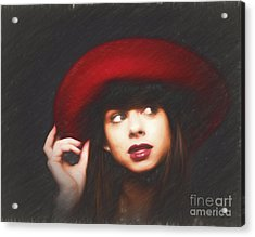 Amy And The Red Hat  ... Acrylic Print by Chuck Caramella