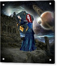 Acrylic Print featuring the painting Amy And The Tardis by Digital Art Cafe