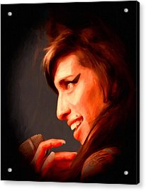 Amy Winehouse Acrylic Print by Michael Pickett