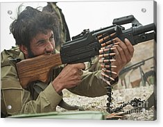 An Afghan Local Police Officer Fires Acrylic Print by Stocktrek Images