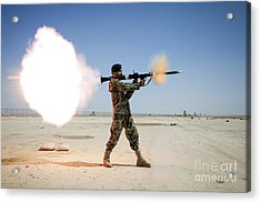 An Afghan National Army Soldier Fires Acrylic Print by Stocktrek Images