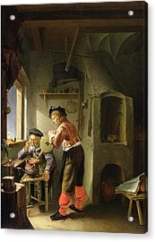 An Alchemist And His Assistant In Their Workshop Oil On Panel Acrylic Print