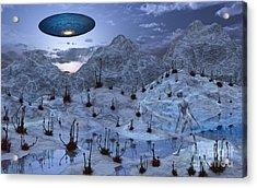 An Alien Reptoid Being Signaling Acrylic Print by Mark Stevenson