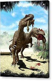 An Allosaurus And A Hypsilophodon Find Acrylic Print by Yuriy Priymak