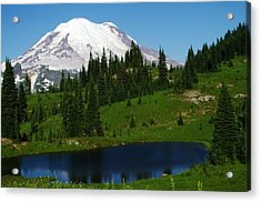 An Alpine Lake Foreground Mt Rainer Acrylic Print