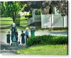 Little Amish Gardeners Acrylic Print