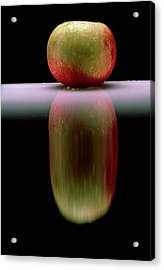 An Apple & Its Reflection In A Polished Table Top Acrylic Print by Mike Devlin/science Photo Library
