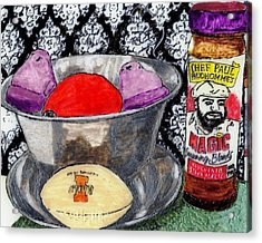 An Apple Purple Peeps And Paul Prudhomme Acrylic Print