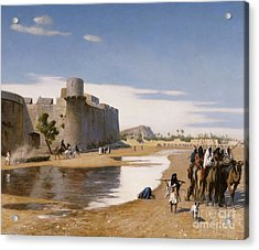 An Arab Caravan Outside A Fortified Town Acrylic Print